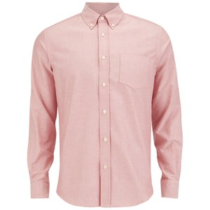 Tripl Stitched Men's Oxford Long Sleeve Shirt - Rose