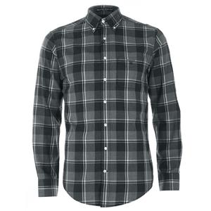GANT Men's Heather Twill Long Sleeve Shirt - Dark Charcoal Melange