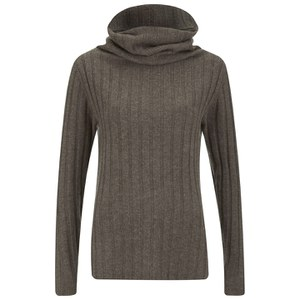 Designers Remix Women's Isola Neck Rib Turtleneck Sweater - Brown