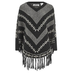 ONLY Women's Ethno Poncho - Black/White