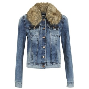 ONLY Women's Chris Denim Fur Jacket - Medium Blue