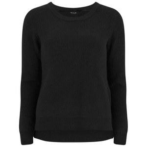 VILA Women's Knitted Jumper with Side Zip - Black