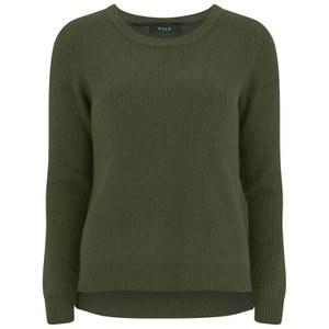 VILA Women's Knitted Jumper with Side Zip - Ivy Green