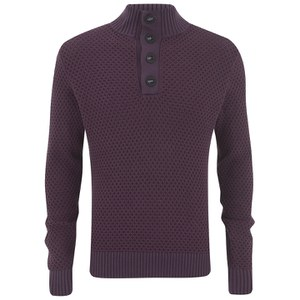 Tommy Hilfiger Men's Button Mock Neck Knit - Plum