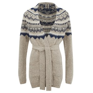 French Connection Women's Fran Fair Isle Oversized Cardigan - Oatmeal Multi