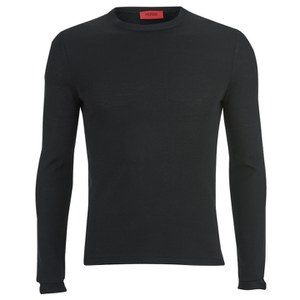 HUGO Men's Splatted Crew Neck Cashmere Blend Knitted Jumper - Black