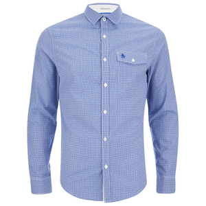Original Penguin Men's Facade Long Sleeve Shirt - Snorkel Blue