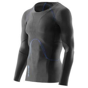 Skins Men's RY400 Long Sleeve Compression Top - Graphite/Blue