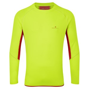 RonHill Men's Vizion Long Sleeve Crew Top - Yellow/Red