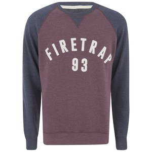 Firetrap Men's Rumsey Crew Neck Raglan Sweatshirt - Burgundy
