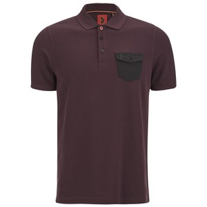 Luke 1977 Men's Nelly The Loon Striped Back Polo Shirt - Port