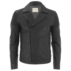 Selected Homme Men's Maverick Leather Jacket - Black