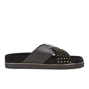 Senso Women's Kayden I Leather/Suede Double Strap Sandals - Ebony
