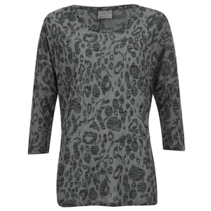 Vero Moda Women's Anna Asti 3/4 Printed Top - Dark Grey Melange