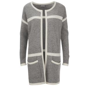 Vero Moda Women's Odelia Long Sleeve Coatigan - Light Grey Melange