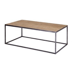 Solid Wood Coffee Table with Iron Base