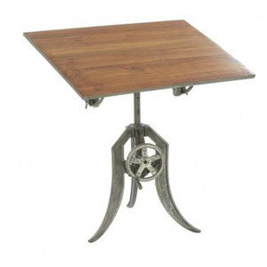Reclaimed Teak and Wood Drafting Table