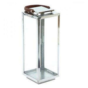 Nickel Finish Lantern with Leather Handle - Small