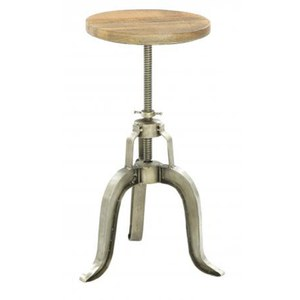 Industrial Metal and Wood Adjustable Stool