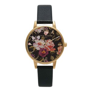 Olivia Burton Women's Midi Winter Garden Watch - Black/Gold
