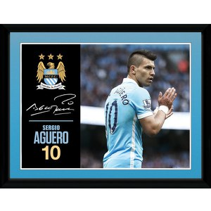 Manchester City Aguero 15/16 - 16 x 12 Inches Framed Photographic