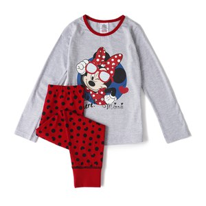 Disney Minnie Mouse Girl's Long Sleeve Pyjamas - Grey/Red