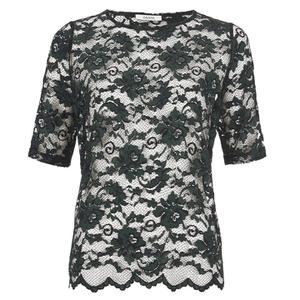 Ganni Women's Lace Short Sleeve Blouse - Black/Botanical Garden