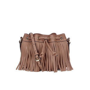 Rebecca Minkoff Women's Fringe Micro Lexi Bucket Bag - Almond