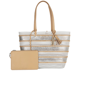Loeffler Randall Women's Beach Tote Bag - White/Silver/Natural