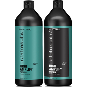 Champú (1000 ml), Acondicionador (1000 ml) y Espuma voluminizante (270 ml) Matrix Total Results High Amplify