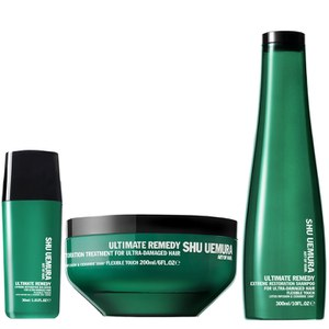 Champô (300ml), Máscara (200ml) e Sérum (30ml) Art of Hair Ultimate Remedy de Shu Uemura