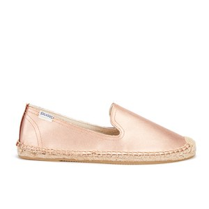 Soludos Women's Leather Espadrille Smoking Slippers - Metallic Rose Gold