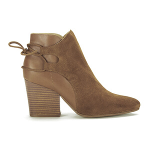 H Shoes by Hudson Women's Minka Suede Lace Back Heeled Ankle Boots - Tan