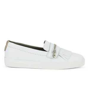 H Shoes by Hudson Women's Beata Tassle Leather Slip On Trainers - White