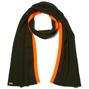 Hunter Women's Original Neon Trim Scarf - Swamp Green/Neon Oxide