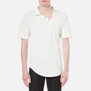 Vivienne Westwood MAN Men's Basic Pique Asymmetric Polo Shirt - White