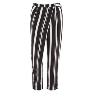 Lavish Alice Women's Stripe Crossover D-Ring Peg Leg Trousers - Black/Cream/Burgundy
