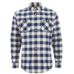 Lyle & Scott Vintage Men's Herringbone Check Over Shirt - Ivory