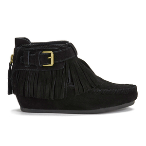 Ash Women's Spot ATS Suede Fringed Wedged Ankle Boots - Black