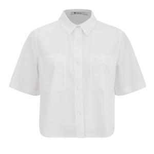 T by Alexander Wang Women's Cotton Poplin Cropped Short Sleeve Shirt - Sky