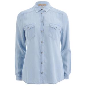 BOSS Orange Women's Crop Denim Shirt - Blue