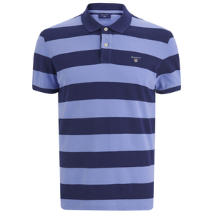 GANT Men's Barstripe Pique Rugger Polo Shirt - Lavender Blue