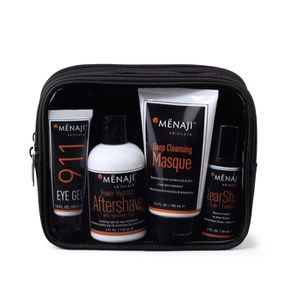 Menaji Anti Shine Powder, Concealer, Aftershave and 3 in 1 Formula Lip Agent SPF 15 David Expandable Dopp Kit