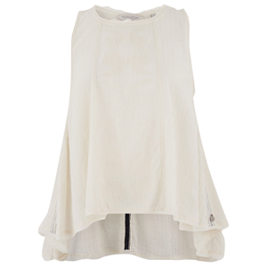 Maison Scotch Womens Sleeveless Top with Embroidery - White
