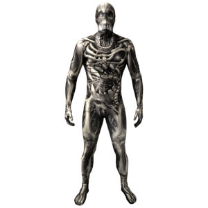 Morphsuit Adults' Skull and Bones Skeleton - Grey