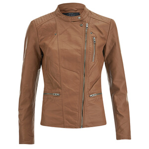 ONLY Women's Freya Faux Leather Biker Jacket - Cognac