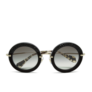 Miu Miu Women's Round Crystal Sunglasses - Black