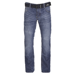 Crosshatch Mens New Embossed Techno Straight Fit Jeans - Stone Wash
