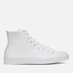 Converse Chuck Taylor All Star Leather Hi-Top Trainers - White Monochrome