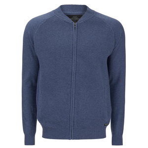 Threadbare Men's Tallinn Knitted Bomber Jacket - Denim Marl